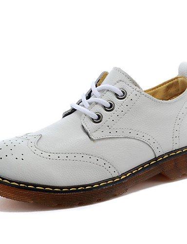 ZQ Zapatos de mujer - Tacón Plano - Comfort - Oxfords - Exterior / Casual - Cuero - Negro / Marrón / Blanco , black-us6 / eu36 / uk4 / cn36 , black-us6 / eu36 / uk4 / cn36 black-us6 / eu36 / uk4 / cn36