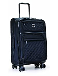 Calvin Klein Luggage Hawthorne Quilted 20-Inch Upright Spinner, Black, International Carry-on