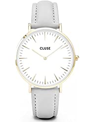 Cluse Womens La Boheme 38mm Grey Leather Band Metal Case Quartz White Dial Analog Watch CL18414