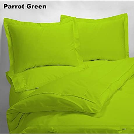 Luxury 600 Thread Counts 7pc Bed In A Bag With 500GSM Comforter Narrow Bunk Size Parrot Green Solid 100 Egyptian Cotton By PARADISEHOUSE