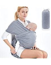 SaponinTree Babydraagdoek, hoogwaardige babybuikdrager, elastische draagdoek voor pasgeborenen en peuters tot 15 kg, 100% zacht biologisch katoen voor mannen en vrouwen