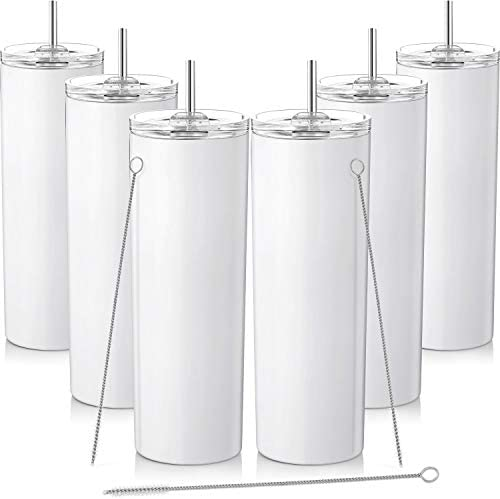 6 Pieces Skinny Tumbler Stainless Steel Double-Insulated Water Tumbler Cup with Splash Proof Sliding Lid and Straw, 20 oz. Vacuum Travel Slim Bottle for Hot Cold Drinks with Brush (White)