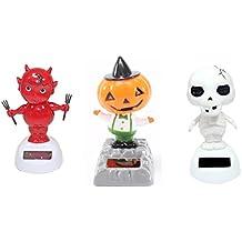 Set of 3 Skeleton Baby Devil Dancing Pumpkin with a Hat Halloween Fall Solar Toys US Seller