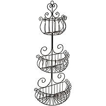 MyGift Wall Mounted Scrollwork Design Deluxe 3 Tier Black Iron Fruit Basket/Kitchen Storage Rack