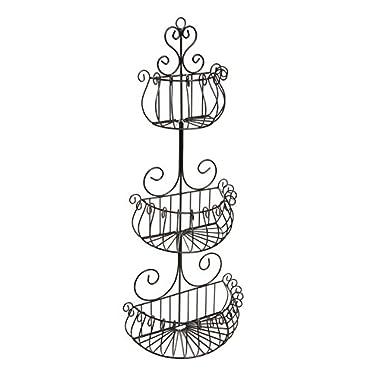 Wall Mounted Scrollwork Design Deluxe 3 Tier Black Iron Fruit Basket / Kitchen Storage Rack - MyGift®