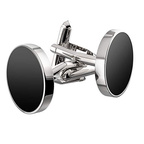 UHIBROS Jewelry Stainless Steel Classic Tuxedo Shirt Cufflinks for Men Unique Business Wedding White (Black)