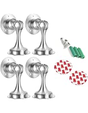 Magnetic Door Stop Set of 4 Pack - Stainless Steel Door Stopper Magnetic Door Catch, 3M Double-Sided Adhesive Tape No Need to Drill