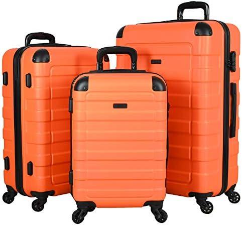 Hipack Prime Suitcases Hardside Luggage with Spinner Wheels, Orange, 3-Piece Set (20/24/28)