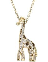 "Sterling Silver Crystal Giraffe Animal Pendant Necklace for Women, 18"""