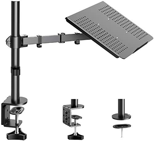 HUANUO Laptop/Notebook Desk Mount Stand - Height Adjustable Single Arm Mount with C Clamp, VESA 75X75 and 100X100 for Monitor 15-32 inch
