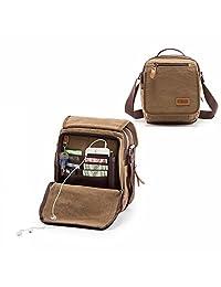 ECOSUSI Mens Canvas Purse ipad Satchel Crossbody Handbag Small Shoulder Bag
