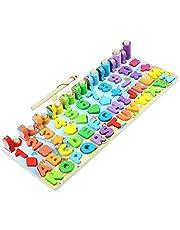 Tianbi Magnetiska pussel, 6-i-1 Magnetiskt fiskespel Trä Nummer Pussel sortering Matematikbräda Pedagogiska leksaker för småbarn Form Sorterare Räkning Spel Matematik Stapling Block Lärande