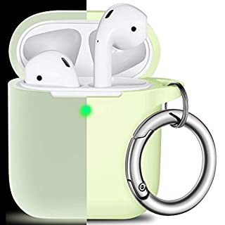 AirPods Case Cover with Keychain, Full Protective Silicone AirPods Accessories Skin Cover for Men Women Girl boy Teens with Apple AirPods Wireless Charging Case,Front LED Visible-Night Glow