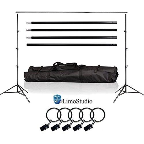 LimoStudio Photo Video Studio 10Ft Adjustable Muslin Offing Backdrop Support System Stand, 5x Backdrop Helper Holders Kit with Bag, AGG1395