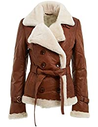 Womens Tan Double Breasted Real Shearling Sheepskin Leather Pea Coat