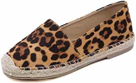 f72d4ff0a83a T-JULY Leopard Grain Flat Shoes Women Hemp Fisherman Espadrilles Loafers  Casual Round Toe Women