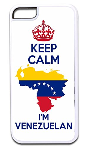 Keep Calm I'm Venezuelan TM Apple Iphone 4, 4s White Plastic Case with Soft Black Rubber Lining Made in the U.S.A.