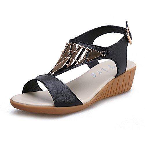 ZPPZZP Ms sandali pantofole flat-bed piana e selvaggio indossando 35EU nero