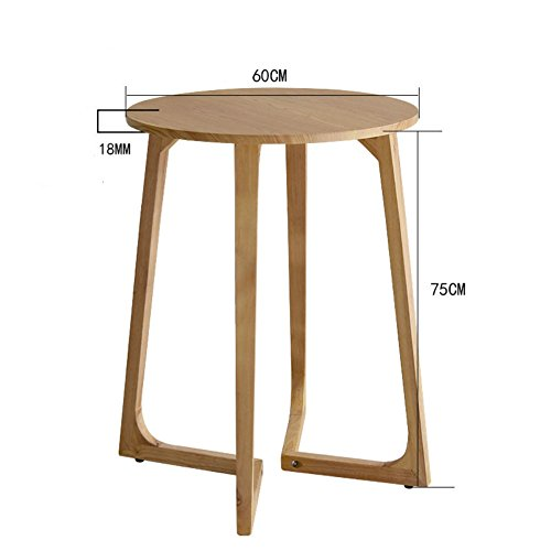 D&L Solid Wood Waterproof Round Side Table, Living Room Sofa Table Coffee Table Bedroom Night Table Telephone Table-Log 60x75cm