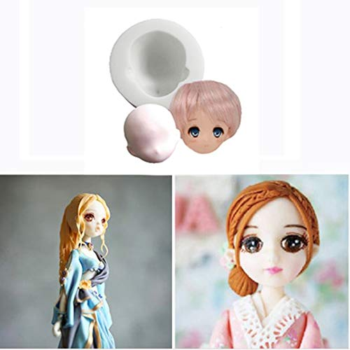 Cake Molds - 3d Girl Princess Face Lady Head Cake Mold Silicone Cute Doll Fondant Chocolate Diy Decor Pc972043 - Leaves Angel Pearls Deer Decorating Unicorn Bear Shells Brick Nail -