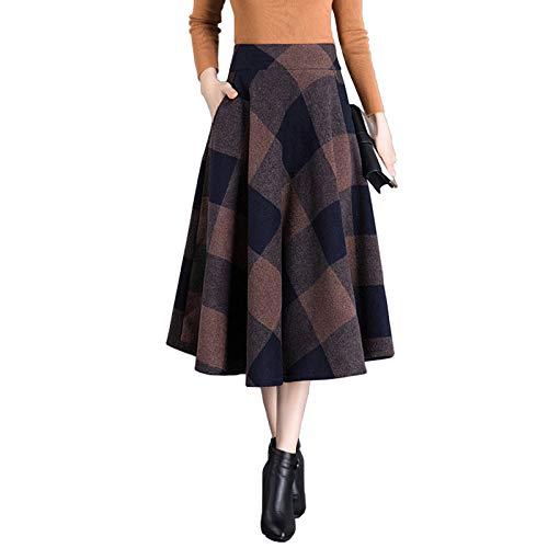 Winter Tasche Line Donna Lunga Vita A Swing Due Alta Warm Maxi Per In Gonna Con Lana Scozzese iZuPOTkX