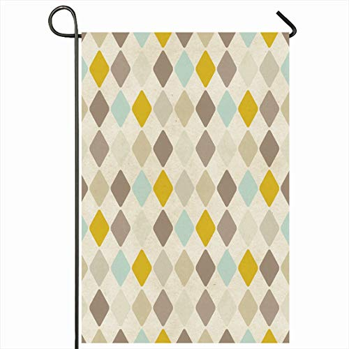 Coffee Harlequin - Ahawoso Outdoor Garden Flag 28x40 Inches Menswear Beige Coffee Harlequin Pattern On Abstract Wool Vintage Argyle Retro Old Color Design Material Seasonal Home Decorative House Yard Sign