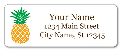 (Personalized Return Address Labels - Vintage Pineapple Design - 120 Custom Gift Stickers)