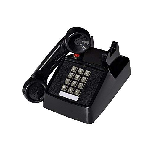 Telephone- Telephone Ivory ABS Vintage Button Landline Mechanical Ringing Phone with Indicator Light Welcome (Color : Black)