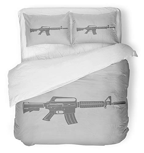 (Emvency 3 Piece Duvet Cover Set Breathable Brushed Microfiber Fabric Ar15 Black and Assault Rifle Armament Arms Army Automatic Battle Carbine Combat Bedding Set with 2 Pillow Covers King Size)