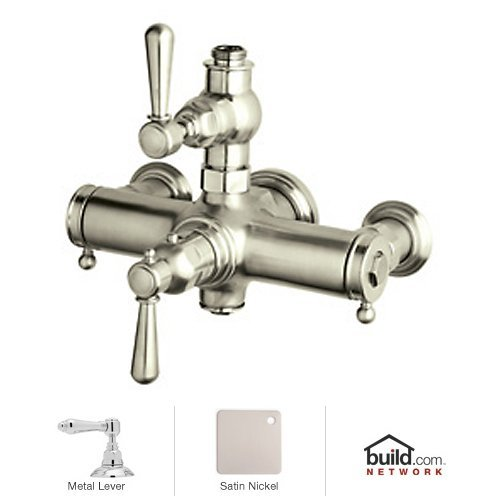 Rohl A2917LMSTN Country Bath Collection Verona Exposed Thermostatic Mixer with Metal Levers: (Rohl Exposed Thermostatic Mixer)