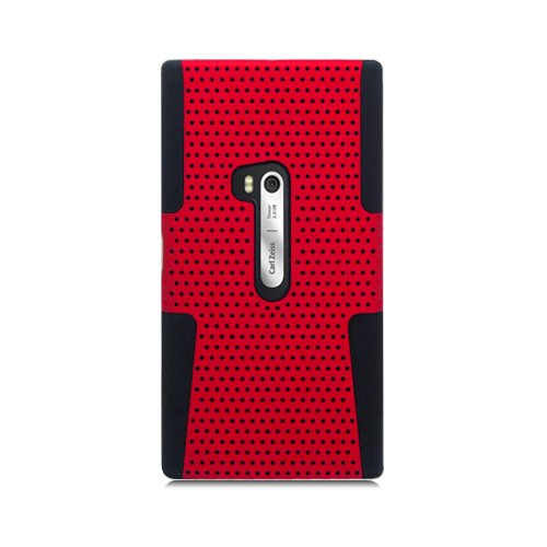 Eagle Cell PHNK920NTBKRD Progressive Hybrid Protective Gummy TPU Mesh Defense Case for Nokia Lumia 920 - Retail Packaging - Black/Red (Cover For Nokia Lumia 920)