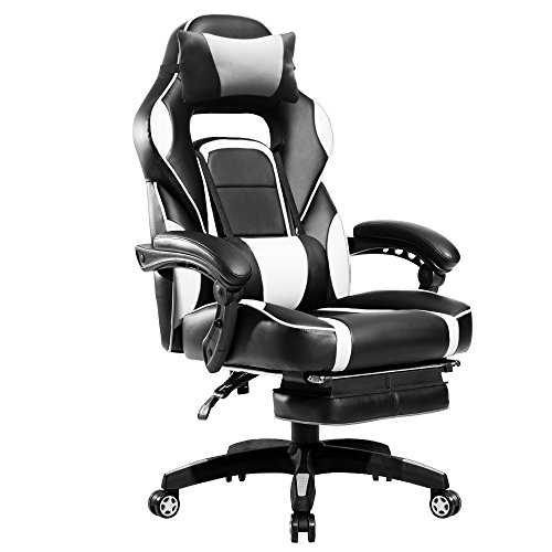 Merax PP033845 High-Back Racing Ergonomic Gaming Footrest, PU Leather Swivel Computer Home Office Chair Including Headrest and Lumbar Support (White)