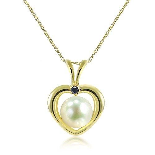 La Regis Jewelry 14KY Gold Heart Shape Pendant 5-5.5mm White Freshwater Cultured Pearl and .01ctw Black Diamond, 18