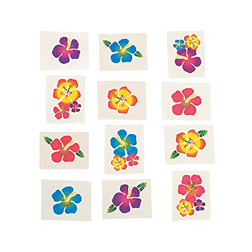 Fun Express Hibiscus Glitter Tattoos (Package of 36) ()