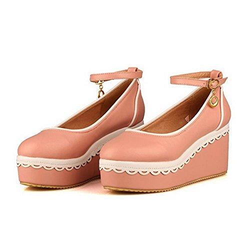 AgooLar Damen Rein Weiches Material Hoher Absatz Schnalle Pumps Schuhe Pink