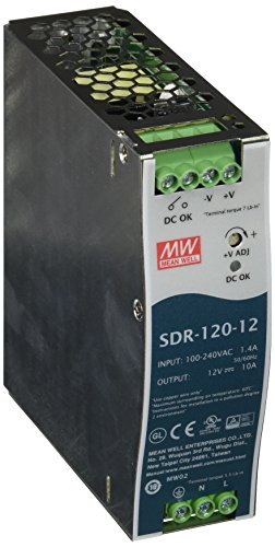 Mean Well SDR-120-12 DIN-Rail Switching Power Supply, 12VDC, 10A, 120W