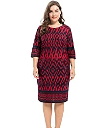 Womens Plus Size Stretch Zigzag Printed Cashmere Touch Shift Dress - Knee Length Casual and Work
