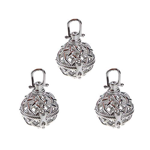 5PC Silver Plated Locket Ball Crossed Pendant Oil Diffuser DIY Jewelry -