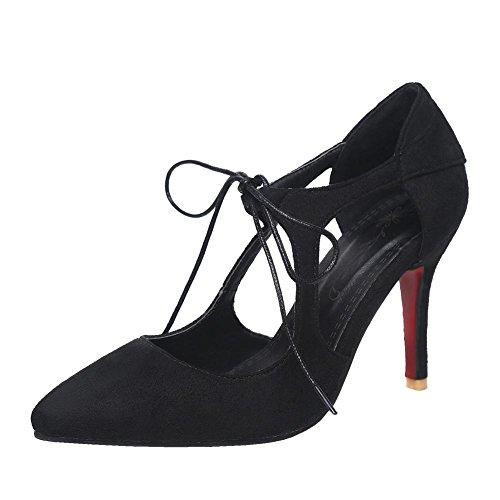 MissSaSa Damen Ankle-Strap high heel Pointed Toe Nubuck Pumps Schwarz