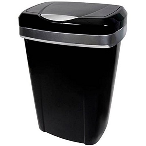 - 12.2-Gallon Black With Silver Accents Premium Touch Lid Uses 13-Gallon Tall Kitchen Trash Bags Trash Can