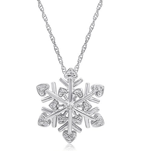 Amazon #LightningDeal 87% claimed: Diamond Snowflake Heart Pendant-Necklace in Sterling Silver (18 inch Chain)