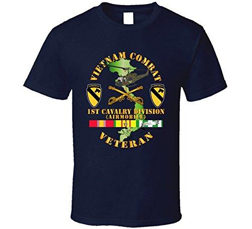LARGE - Army - Vietnam Combat Cavalry Veteran W 1st Cavalry Div Ssi V1 T Shirt - Navy