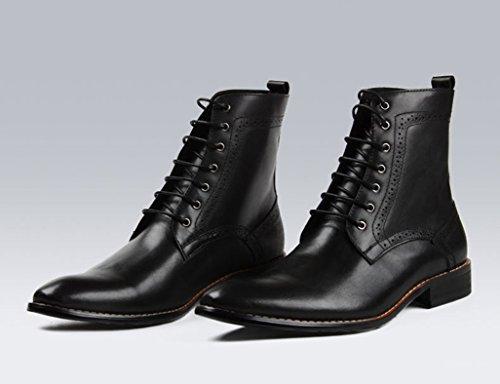 de Zapatos Hombres ejército Botas Negro Cuero Británico Corta Superior Tamaño de Retro Punta para Negro Zapatos Estilo Clásicos Color de Piel para Botas de UK8 EU43 de Hombre Utillaje Martin rrxYqz1