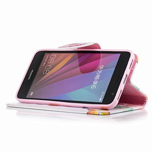 Custodia Huawei Enjoy 6 Cover Case, Ougger Farfalle Portafoglio PU Pelle Magnetico Stand Morbido Silicone Flip Bumper Protettivo Gomma Shell Borsa Custodie con Slot per Schede