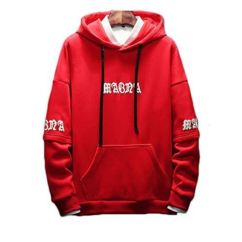 Con Pullover Red Go Da Uomo Sciolto Ricamato Shopping Cappuccio Casual Easy qOFvtnTO