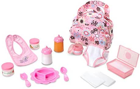 Melissa & Doug Mine to Love Doll Feeding and Changing Accessories Set (Diaper Bag Set, Baby Food & Bottle Set, Great Gift for Girls and Boys - Best for 3, 4, 5, and 6 Year Olds)