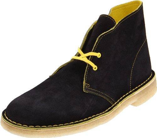 Clarks Originali Mens Desert Boot Nero Scamosciato / Giallo