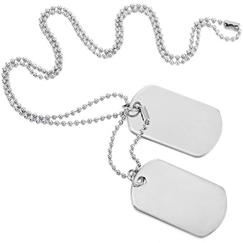 Style Tag Necklace Dog - MOWOM Silver Tone 2PCS Alloy Pendant Necklace Army Double Dog Tag