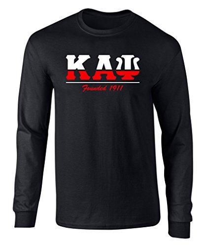 Fashion Greek Kappa Alpha Psi Graphic Print Long Sleeve T Shirt Black Large -