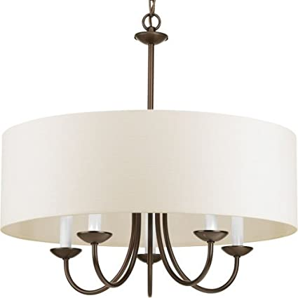 progress lighting p4217 20 5 lt chain hung fixture off white linen